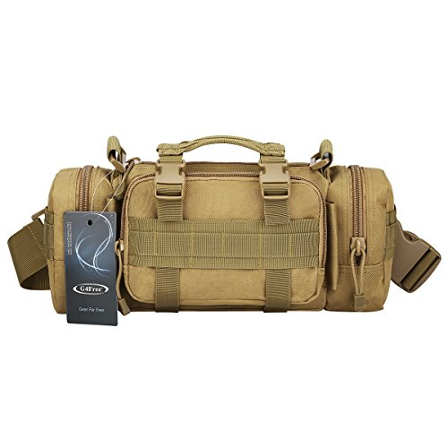 G4Free Deployment Bag Versatile Tactical Waist Pack,Hand Carry Camping Military Style Rucksack(Tan)