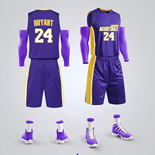 YHNMK Kobe Bryant # 24 Camiseta de Baloncesto para Hombres de Baloncesto Bordado Top y Shorts Camiseta de Baloncesto Bordado Camiseta Unisex Adultos