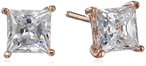La Lumiere Rose Gold Plated Sterling Silver Made with Cubic Zirconia from Swarovski Princess-Cut Stud Earrings (1.5 CTTW)