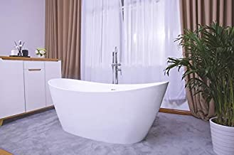 Empava Made in USA 67 Inch Acrylic Freestanding Bathtub Contemporary Soaking Tub with Brushed Nickel Overflow and Drain EMPV-BT1518, Glossy White