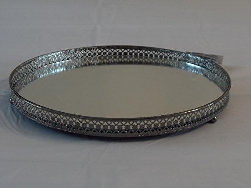 Silberfarbenes Spiegel-Glas-Tablett für Kerzen, 25cm