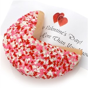 Heart Sprinkles Giant Fortune Cookie (Caramel)