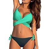 Stynice Damen Bikini Set Zweiteilige Badeanzug mit Push Up Crossover Bikinioberteil und Triangel Bikinihose Sexy Halter Bademode Bikini-Sets -