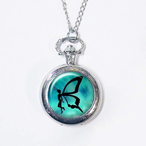 Reloj de bolsillo de mariposa de hadas, hermoso colgante de hada, collar de mariposa, reloj de...