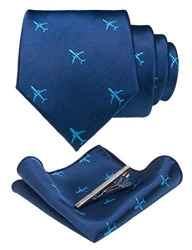 JEMYGINS Herren BlauMuster Weben Krawatte in Seide und Einstecktuch Krawattenklammer SetI, Blau-flugzeug, M