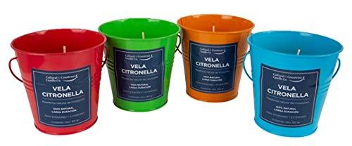CALLAND&COUSTEAU CANDLE CO. Set DE 4 Velas DE CITRONELLA EN CUBETAS Coloridas (160 G. C/U) para DECORACIÓN Y Repelente Natural DE Mosquitos