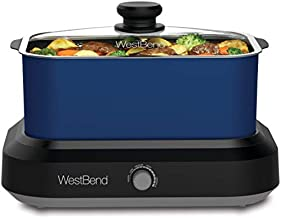 West Bend 87905B Large Capacity Non-stick Versatility Cooker with 5 Different Temperature Control Settings Dishwasher Safe Includes a Travel Lid, 5 quart, Blue