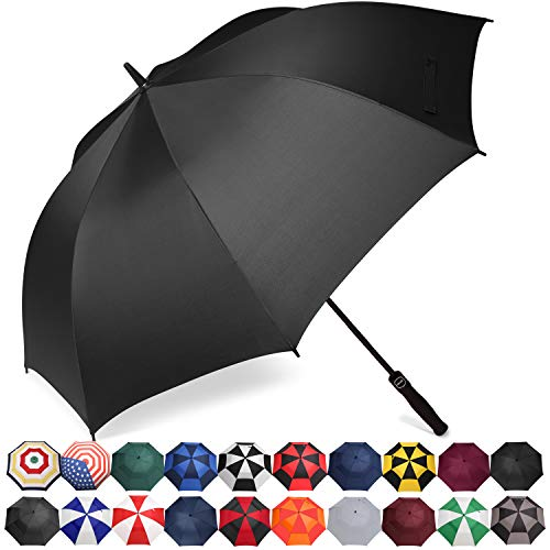 BAGAIL Golf Umbrella 68/62/58 Inch Large Oversize Automatic Open Stick Umbrellas for Men and Women(Black-Single Layer,58 inch)
