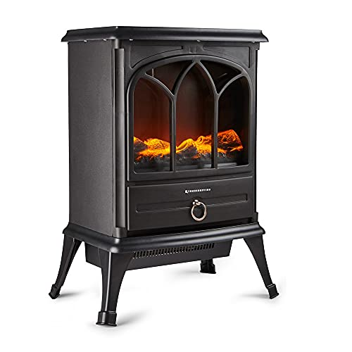 Freestanding Portable Electric Stove Heater - 1800W Indoor Fireplace with Wood Log Burning Flame Effect - Adjustable Thermostat & Overheat Protection - Black