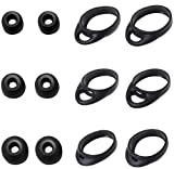 Zotech 6 Pair Silicone Ear Tips & Ear Hooks S/M/L for Samsung Gear IconX (2018 Edition) SM-R140 (Black)