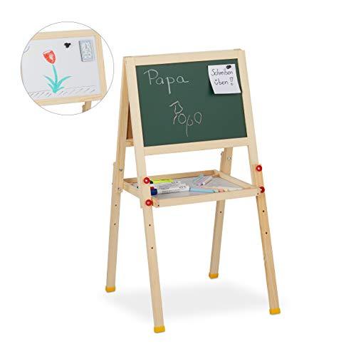 Relaxdays, Natur Standtafel Kinder, beidseitig magnetisch, höhenverstellbar, HBT 77x39x44,5 cm, Whiteboard & Kreidetafel, 77 x 39 x 44,5 cm