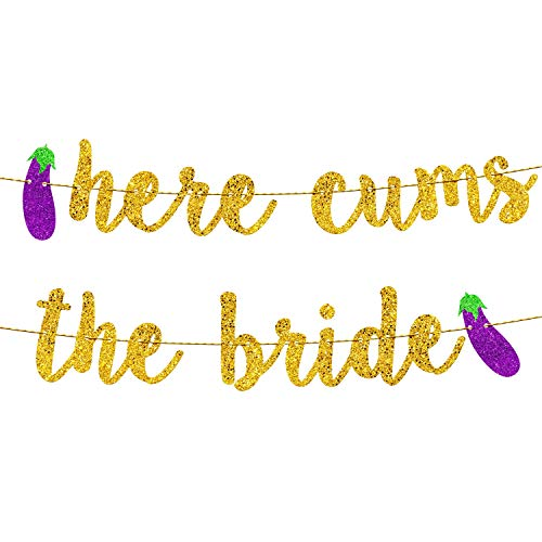 Bachelorette Party Decorations | Bridal Shower Decorations | Bachelorette Party Supplies | Engagement Party Decorations | Here Comes The Bride Gold Glitter Banner…