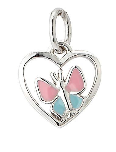 Collane ciondolo a forma di cuore con farfalla bambini - rosa/blu