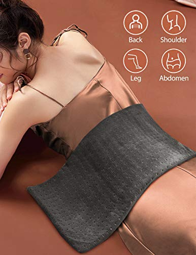 Heating Pad Extra-Large, ATMOKO Electric Heat Pad for Pain Relief, Fast Heating 4 Heat Level, 1/1.5/2H Auto-Off/Stay On Option, Washable Soft Fabric, Dry & Moist Heat Pad for Back, Neck, Shoulder