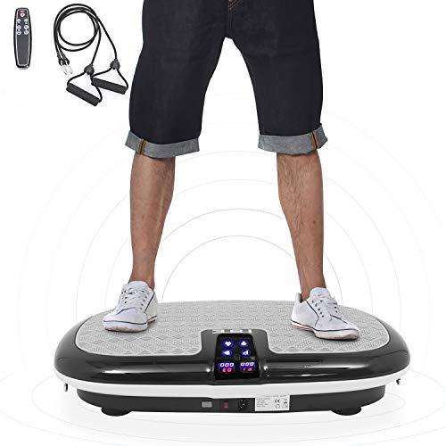ISE Fitness con Piattaforma Vibrante, Attrezzatura da Ginnastica per Casa, Piastra Vibrante, 4 Programmi, Bilanciamento del peso, Cinghie di Telecomando e Fasce di Resistenza incluse,SY-8009-BG