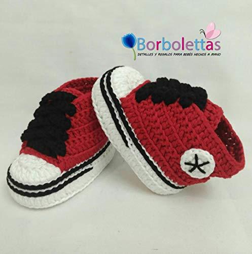 Patucos para Bebé Recién Nacido tipo Converse, 0-3 meses Rojo-Negro. Handmade. Crochet. España