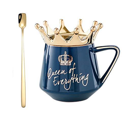 12 oz Süße Queen Tasse, Mug Kaffeetasse Teetassen Keramikbecher mit Handgefertigte Kronendeckel und Löffel, Goldene Buchstaben Feines Geschenk für Freunde , Familie , Kinder (Dunkelblau)