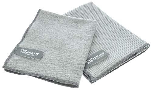 Jemako Set van 2 grijs   droogdoek 45 x 60 cm   Profituch Plus S 35 x 40 cm   natte en droge set   incl. Sinland…
