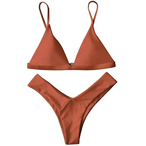 ZAFUL Damen Sport Push-Up Wickeln Bikini Sets Bademode Badeanzug Swimwear Swimsuit Burnt Orange S