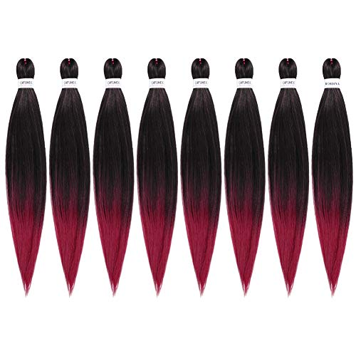Pre-stretched Braiding Hair Burgundy Ombre Red 24 inch 8 packs/lot Hot Water Setting Synthetic Fiber Crochet Braids Crochet Hair Braiding Hair Extension Twist Braid (24 iInch, 1B/Burgundy)