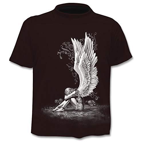 JSWBNMU T-Shirt Imprimé en 3D,Angel Girl Créative T Shirt Imprimé Pull Col Rond Manches Courtes Décontracté Grande Taille des T Shirts Tops Fashion Vêtements Couple Sauvage,5XL