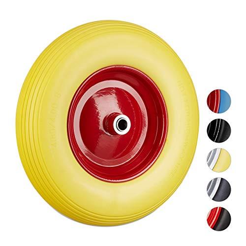 Relaxdays Schubkarrenrad 4.80 4.00-8, Vollgummireifen u. Stahlfelge, Ersatzrad pannensicher, 100 kg Traglast, gelb-rot