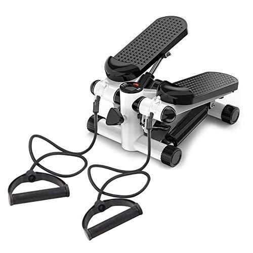 Auveach Mini máquina de fitness, paso a paso con bandas de resistencia para ejercicio cardiovascular, escalera, equipo de fitness para entrenador de interior y hogar, color negro