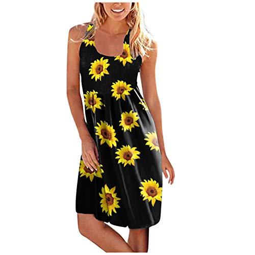TYTUOO Vestido de playa sin mangas con estampado de cuello redondo para mujer, vestido elegante para verano o graduación