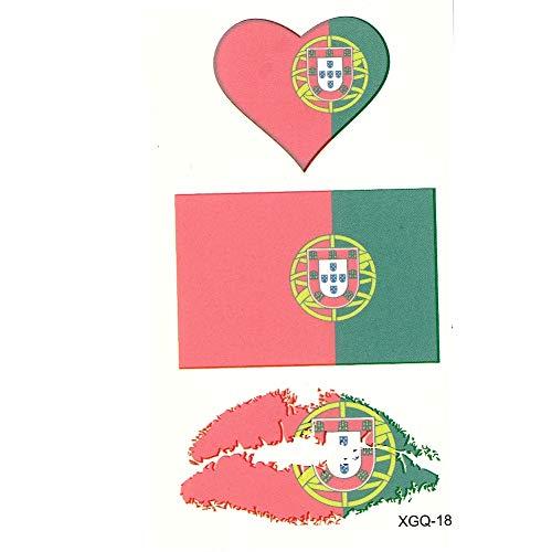 JUSTFOX - Temporäres Tattoo Portugal Fan Fahnen Herz Kussmund Set Design Klebetattoo