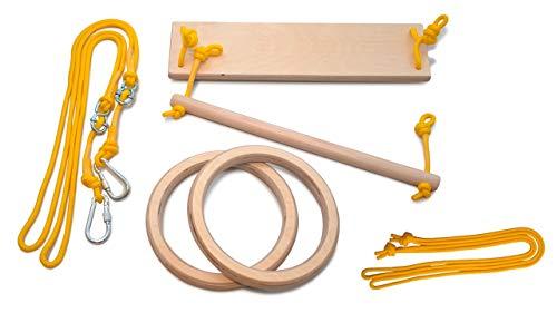 LEORIDO Premium Turngeräte für Zuhause | Schaukel, Trapez und Turnringe für Kinder | Holz | Turnen im Kinderzimmer | Kindersportgerät | Fair produziert | Handmade in Berlin (Natur - gelb)