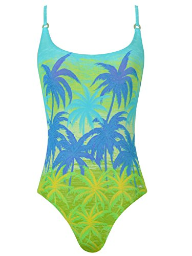 Solar Tan Thru Sportlicher Badeanzug Durchbräunend Palmen in Grün, Gr. 42 B-Cup