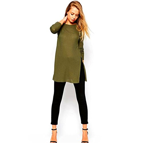 HANYI Women Side Split Long Sleeve Round Neck t-Shirt Knitting Blouse (XL, Army Green)