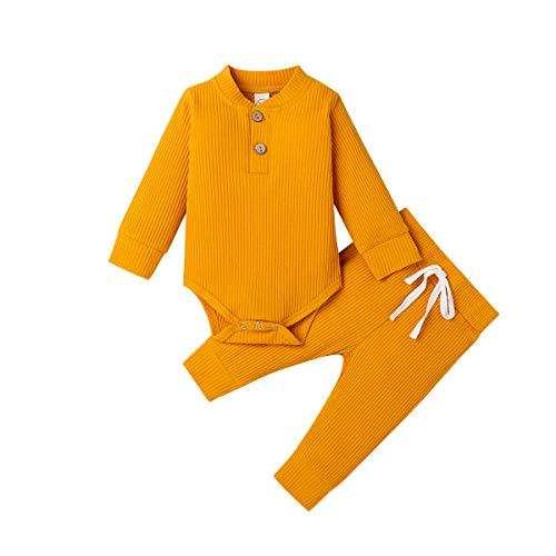 Pijamas para bebés recién Nacidos, Pantalones de Mameluco de Manga Larga, Trajes para bebés, Acanalados, a Rayas, Otoño Invierno, Ropa de Abrigo (Amarillo, 0-3 Meses)