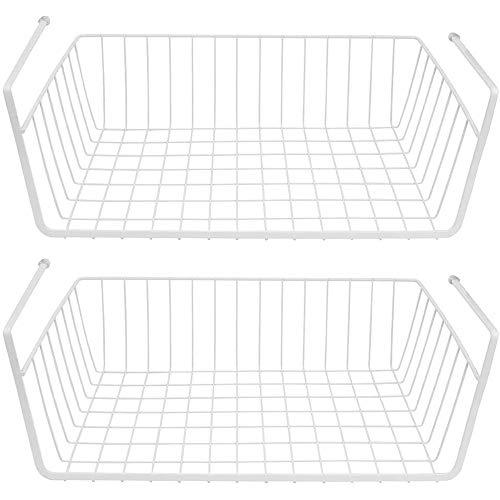 KAIWM Under Shelf Storage Basket,Hanging Basket Storage Organizer Compact Hanger,Sturdy Metal Wire Basket(28 * 25 * 20Cm)-2 Pack,White