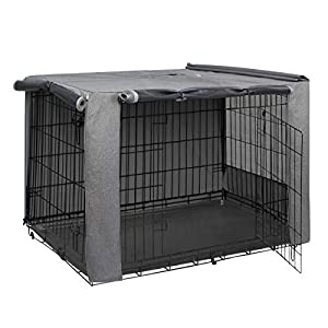 HiCaptain Folding Metal Dog Crate Cover for 36 Inch Wire Pet Cage(Two-Tone Gray)