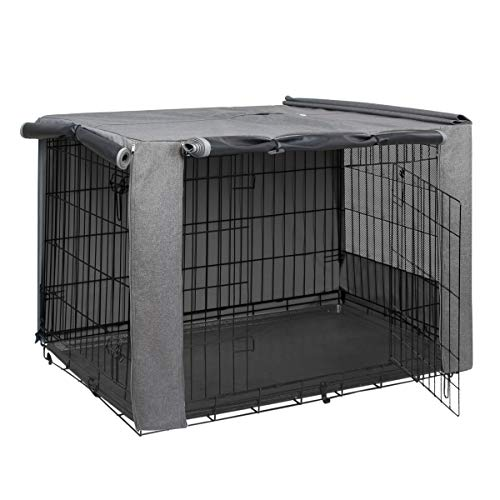 HiCaptain Folding Metal Dog Crate Cover for 36 Inch Wire Pet Cage(Two-Tone Gray) Covers Kennel