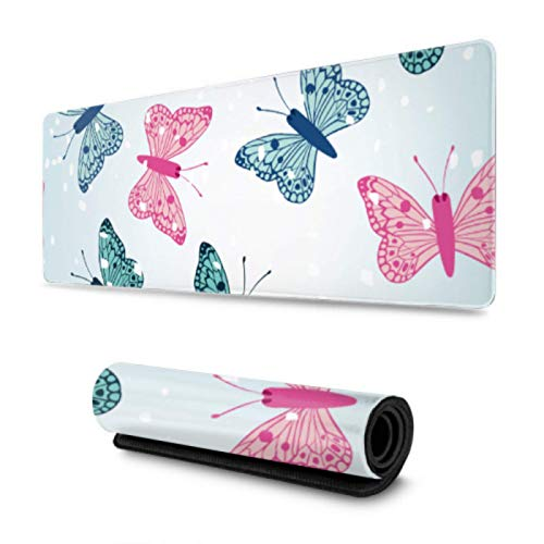 Snowflake Butterfly Fancy Scenery Funny Mouse Pads for Work 31.5x11.8 inch Wide & Long Funny Mouse Pads for Work for Computer/Laptop