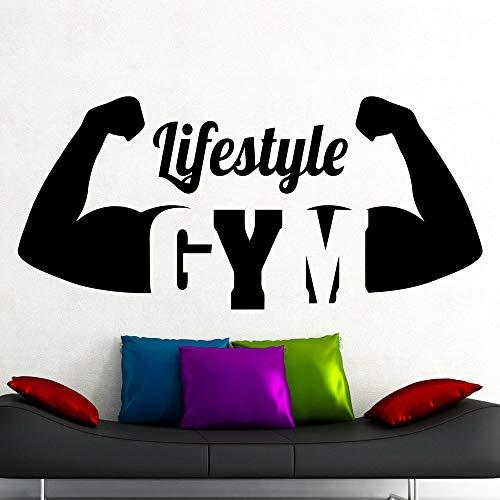 Estilo de vida gimnasio tatuajes de pared gimnasia ejercicio fitness sala de yoga decoración de interiores puertas y ventanas pegatinas de vinilo material publicitario papel tapiz