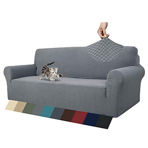 MAXIJIN Fodere per divani più recenti per 3 posti, Fodera per Divano Jacquard Elasticizzata per Cani Fodere per mobili in 1 Pezzo Elastiche per Animali Domestici (3 Posto, Jacquard Grigio Chiaro)