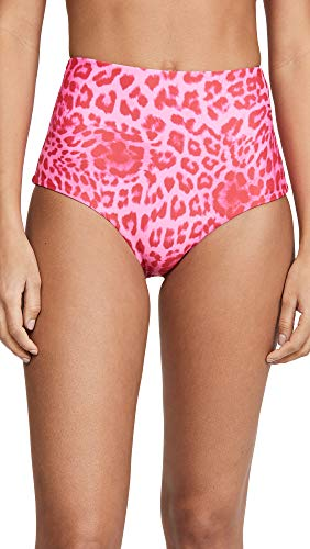 MIKOH Women's Lami Bikini Bottoms, Leopard Punch, Pink, Print, Large