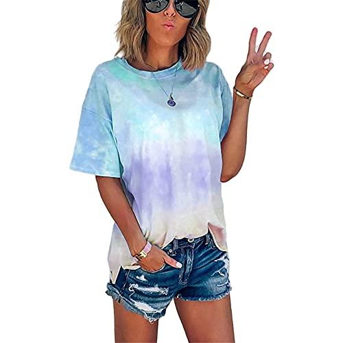 Elesoon, maglietta estiva da donna, tinta unita, tinta unita, colore sfumato sfumato, taglie forti, A-sky blue, 50
