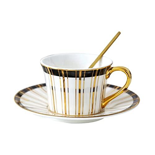 Taza de Latte Art Taza de taza de té de café rayada negra o taza de té del hogar, taza de café de cerámica de 150 ml y platillo conjunto con cuchara, hombres y mujeres, hermanos, padres, regalo de vac