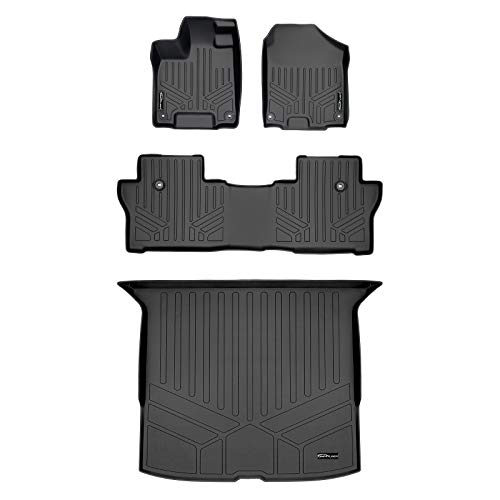 MAX LINER Custom Fit Floor Mats 2 Rows and Cargo Liner Behind 2nd Row Set Black for 2019-2021 Honda Passport