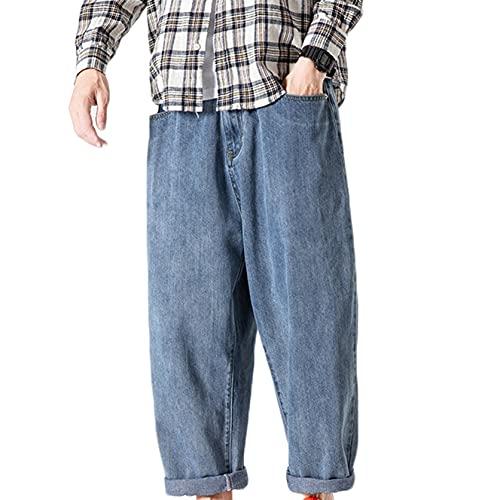 Pantalones de Mezclilla para Hombre Pantalones Anchos de otoño Sueltos Rectos No es fácil de desvanecer Vaqueros Casuales Retro con Resistencia al Desgaste Salvaje