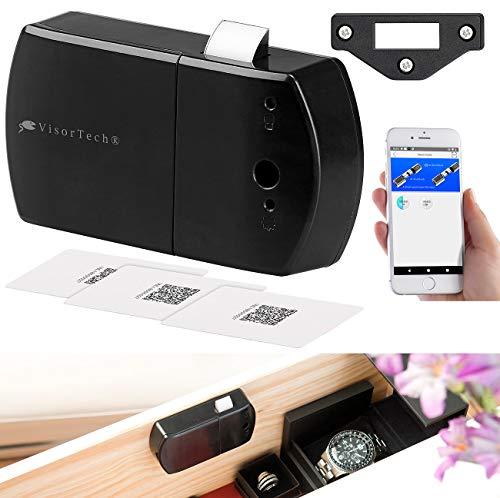 VisorTech Schubladenschloss: Schubladen- & Schranktüren-Schloss mit RFID-Schlüssel, Bluetooth, App (Riegel-Fallenschloß)