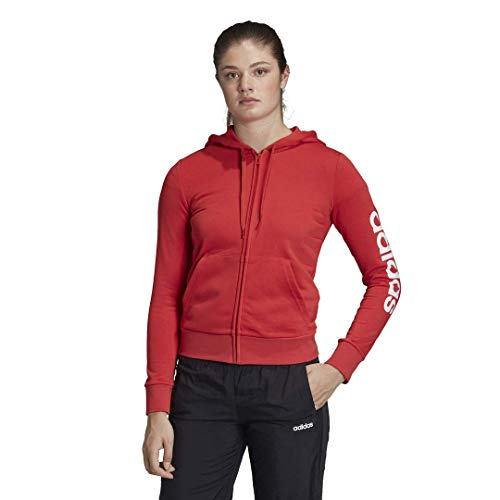 adidas Sudadera con capucha para mujer Essentials Linear con cremallera completa, color gris mediano/rosa