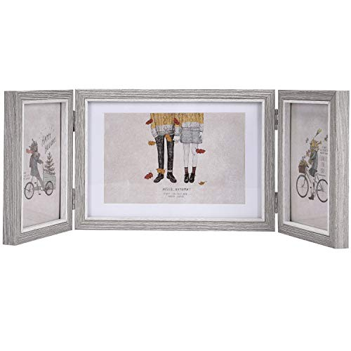 Alishomtll faltbar Bilderrahmen für 3 Fotos Holz MDF für Foto Bilder, Fotorahmen Fotogalerie Portraitrahmen Rahmen Frame (Grau, 2x10x15 cm + 1x13x18 cm)