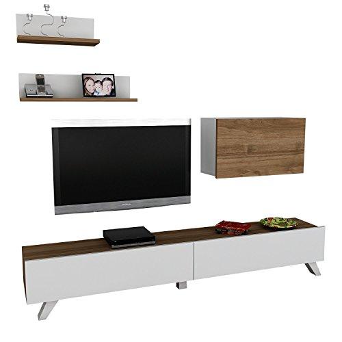 Alphamoebel TV Board Lowboard Fernsehtisch FernsehHängeschrank Sideboard, Fernseh Hängeschrank Tisch für Wohnzimmer I Weiß Walnuss I Caterina 1742 I 180 x 29,5 x 32,6 cm