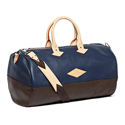 Bob Carlton equipaje de mano aprobado como maleta de cabina – Bolsa para avión, fabricación francesa, Côte d'Azur 55 x 32 x 32 cm, 45 L – La elegancia informal (cuero granulado azul marino, chocolat)