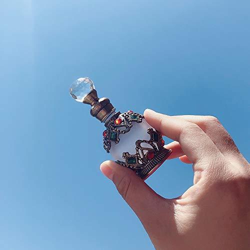 CHICAI Botella de Perfume de Cristal de la Vendimia egipcia, decoración Recargable Mini Botella vacía con la decoración de Oro Hecho a Mano 15ML egipcia (Color : C)